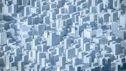 Aerial view on the city concept. 3d rendering