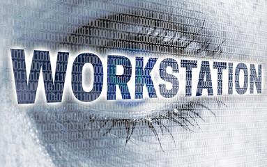 Workstation auge mit matrix blickt auf betrachter konzept
