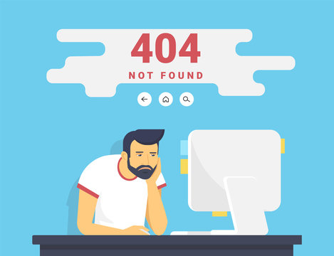 404 error page not found illustration of young upset man is sitting with pc at home and seeing 404 error on screen. Flat outlined illustration of guy working with computer and problems with website