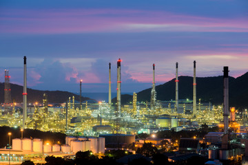 Oil refinery industry at night in Chonburi, Thailand.
