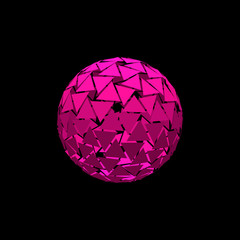 Abstract polygonal broken sphere.Isolated on black background.Vector illustration.
