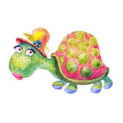 Cartoon watercolor Funny sea Turtle in a hat illustration isolated on white background.Abstract digital image.Children's style,holiday,birthday,vintage,greeting cards,artwork for textiles.