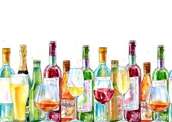 Seamless border of a champagne,cognac, wine, beer and glass. Painting of a alcohol drink .Watercolor hand drawn illustration.White background.