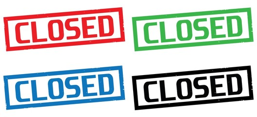 CLOSED text, on rectangle border stamp sign.