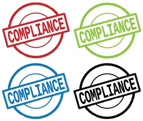 COMPLIANCE text, on round simple stamp sign.