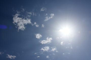 眩しい太陽と青空と雲「空想・太陽に集まるモンスター」