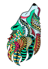 Line art hand drawing black wolf isolated on white background painted multicolored with a black outline. Doodle style. Tatoo. Zenart. Zentangle.