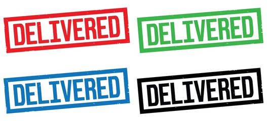 DELIVERED text, on rectangle border stamp sign.