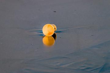 Gobelet jeté sur le lac gelé