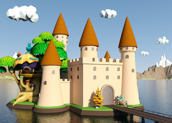 Cartoon medieval castle on island with beautiful landscape, 3D rendering