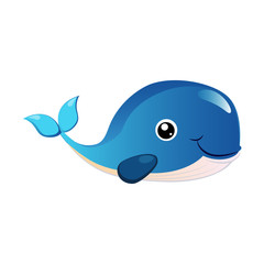 Blue humpback whale, sea creature. Colorful cartoon character