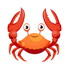Red crab, sea creature. Colorful cartoon character