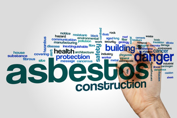 Asbestos word cloud concept on grey background
