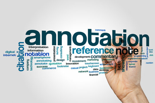 Annotation word cloud concept on grey background