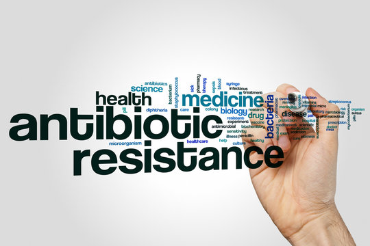 Antibiotic resistance word cloud concept on grey background