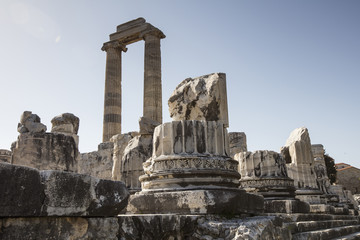 View of Temple of Apollo in antique city of Didyma, Aydin,Turkey