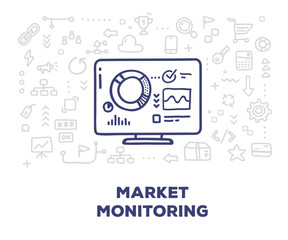 Vector creative illustration of big monitor with graph and chart, line icons on white background.
