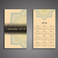 Vector calendar 2018 with decorative elements. Vector mandala design. Template can be used for web and print design.