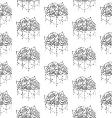 Vector Black Seamless Pattern with Drawn Flowers, Roses with Beads