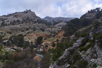 Fototapete - Cloudy morning at Caminito del Rey