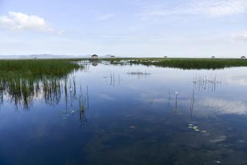 Beautiful blue sky reflect on lagoon