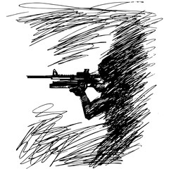 Sketch vector illustration the silhouette of a soldier in profile with a gun
