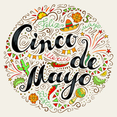 Cinco De Mayo card with doodle style handwritten lettering and many Mexican attributes