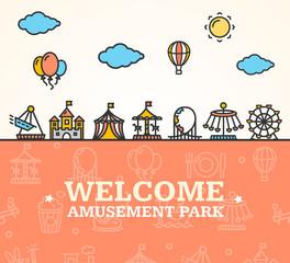Amusement Park Welcome Card. Vector