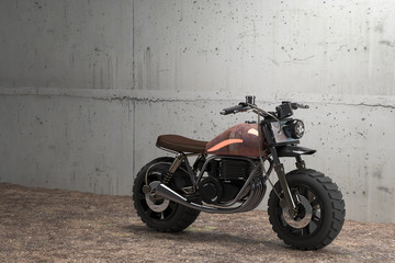 Classic motorcycle with big dirt tire, 3d renders
