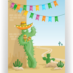 Poster with smiling cactus in sombrero with maracas, colorful flags and desert mexican landscape with cacti.