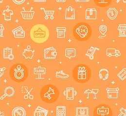 Ecommerce Online Service Pattern Background. Vector