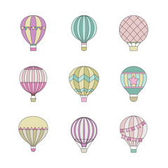 Aerostat (air balloon) outline colored simple icon set.