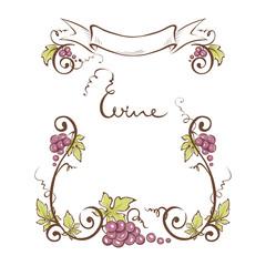 Frame from grapes / Vector illustration, floral design element