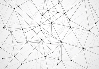 Abstract polygonal with connecting dots and lines
