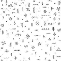 seamless pattern with ethnic tribal symbols
