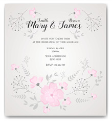 Wedding invitation flowers template