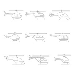 Helicopter outline simple icon set. Clean design.