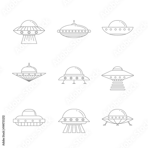 Ufo Outline Colored Simple Icon Set Clean Design Stock Image And