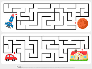 Maze game: Help rocket find the way to mars  and help red car find the way to  home