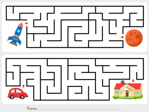 Maze game: Help rocket find the way to mars