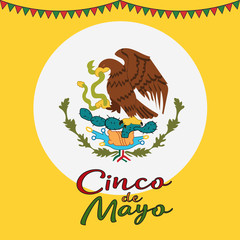 Cinco De Mayo poster design. Symbol of the Mexican flag. Eagle with snake. Vector template with copy space for your holiday celebration at a bar, restaurant.