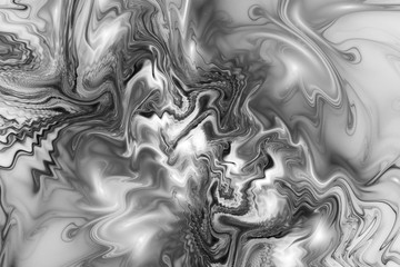 Abstract marble texture. Fantasy fractal background in black and white colors. Digital art. 3D rendering.