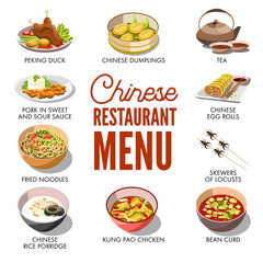 Chinese restaurant menu cover vector template design