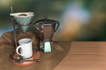 3d rendering a set of vintage coffee drip on a wooden table with burlap and green dark bokeh background.