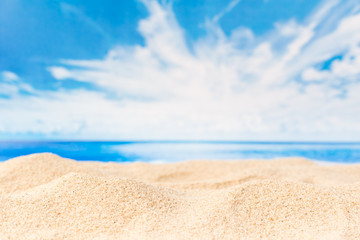 Beautiful lanscape white sand beach with blue sky and clouds for summer holidays background