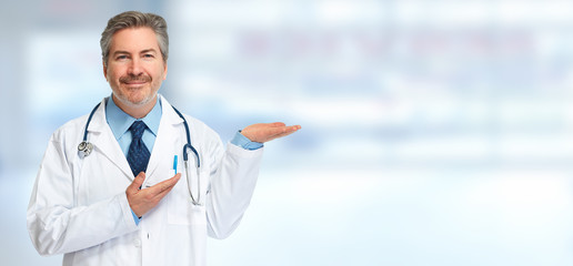 Doctor pharmacist presenting blue background