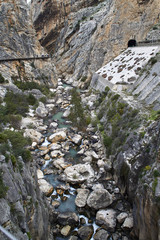 Fototapete - Caminito del Rey, Valle del Hoyo with Guadalhorce river and railway