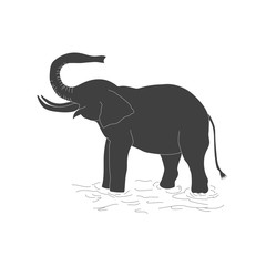 The black silhouette of an elephant on a white background