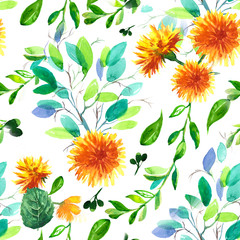 Watercolor seamless pattern with dandelion and leaves. design for invitation, wedding or greeting cards.