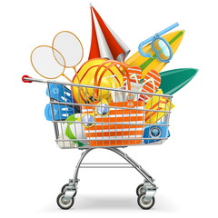 Vector Supermarket Cart with Beach Accessories
